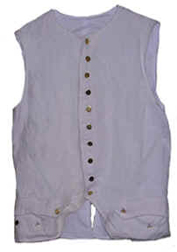 Civilian or Military 1770s Waistcoat, White Linen with Gold or Silver Buttons [#MW4]