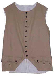 Civilian or Military 1770s Waistcoat, Wool with Gold or Silver Buttons [#MW3]