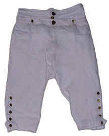 Breeches, White Linen with Gold or Silver Buttons [#GMB4]