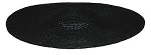 "Ladies' Low Crown 16"" Straw Hat, Black [#GLSH1]"