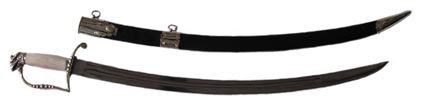 1812 American Officer Sword with Scabbard, White Bronze with Belt Clip & Chain [#1812AOS-WC]