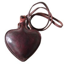 Leather Militia Canteen, Heart Shape - 1 Quart [#194]