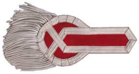 British Officer Epaulet, Style 1 (Red & Silver) [#BOE1C]