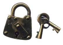 Miniature Brass Padlock - Square Bottom [#548-5]