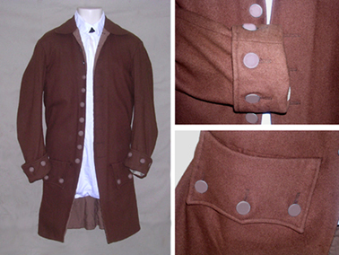 Civilian Wool Frock Coat with Plain Pewter Buttons [#CC1]